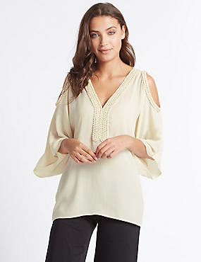 Cold Shoulder V-Neck Blouse