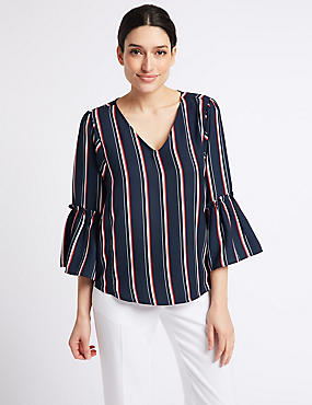 Striped V-Neck 3/4 Sleeve Blouse , DARK MIDNIGHT, catlanding