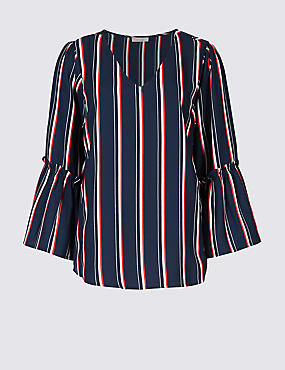 Striped V-Neck 3/4 Sleeve Blouse