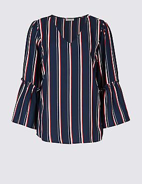 Striped V-Neck 3/4 Sleeve Blouse , DARK MIDNIGHT, catlanding