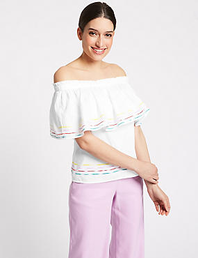 Pure Cotton Half Sleeve Bardot Top, WHITE MIX, catlanding