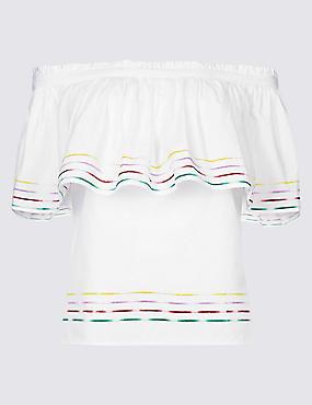 Pure Cotton 3/4 Sleeve Bardot Top , WHITE MIX, catlanding