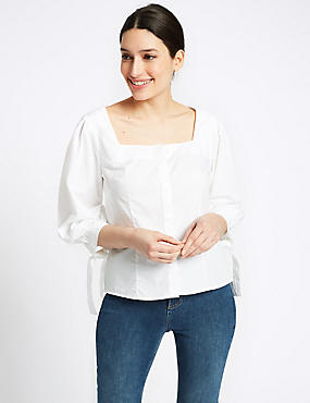 Pure Cotton Square Neck Long Sleeve Blouse, WHITE MIX, catlanding