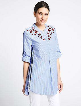 Striped Embroidered Long Sleeve Blouse , BLUE MIX, catlanding