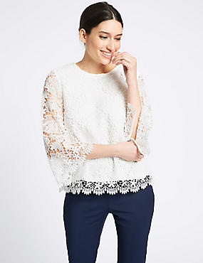 Lace Round Neck Long Sleeve Blouse , IVORY, catlanding