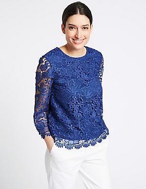 Lace Round Neck ¾ Sleeve Blouse, ROYAL BLUE, catlanding