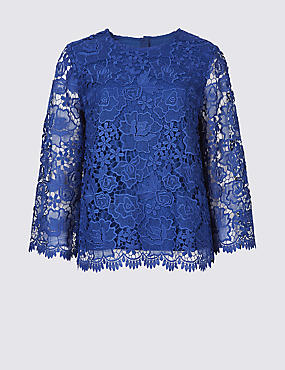 Lace Round Neck Long Sleeve Blouse , ROYAL BLUE, catlanding