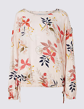 Floral Print Round Neck Long Sleeve Blouse , PINK MIX, catlanding