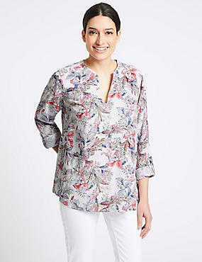Linen Rich Floral Print Long Sleeve Blouse