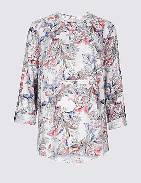 Linen Rich Floral Print Long Sleeve Blouse, BLUE MIX, catlanding