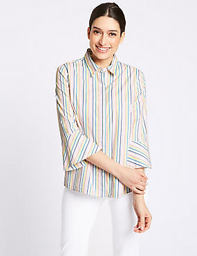 Pure Cotton Striped 3/4 Sleeve Shirt