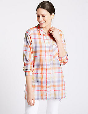 Cotton Rich Checked Long Sleeve Shirt