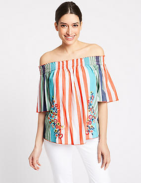 Pure Cotton Embroidered Stripe Bardot Top, WHITE MIX, catlanding