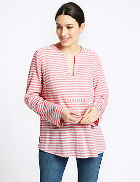 Linen Blend Striped Long Sleeve Blouse, RED MIX, catlanding