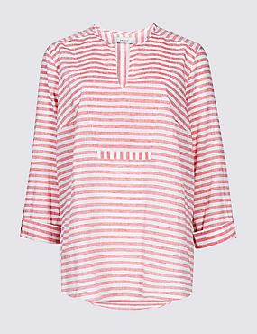 Linen Blend Striped Long Sleeve Blouse, RED MIX, catlanding