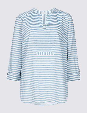 Linen Blend Striped Long Sleeve Blouse, BLUE MIX, catlanding