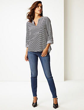 Linen Blend Striped Long Sleeve Blouse, NAVY MIX, catlanding