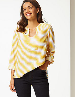 Linen Blend Striped Long Sleeve Blouse, YELLOW MIX, catlanding