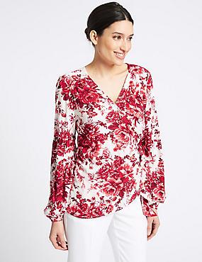 Floral Print V-Neck Long Sleeve Blouse , RED MIX, catlanding