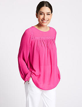 Lace Insert Round Neck Long Sleeve Blouse, BRIGHT PINK, catlanding