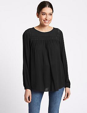 Lace Insert Round Neck Long Sleeve Blouse, BLACK, catlanding