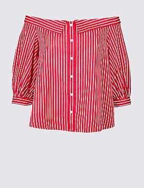 Striped 3/4 Sleeve Bardot Top, RED MIX, catlanding