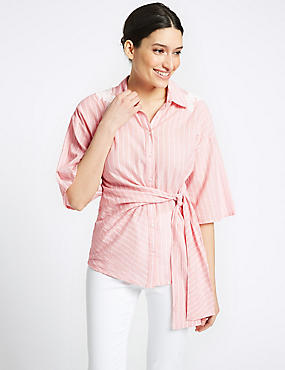 Pure Cotton Striped Embroidered Shirt , PALE PINK MIX, catlanding