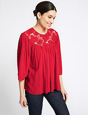 Lace Insert Round Neck 3/4 Sleeve Blouse, RED, catlanding