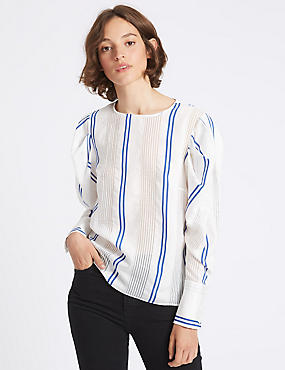 Striped Round Neck Puff Sleeve Shell Top