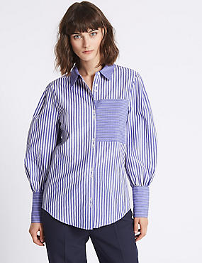 Cotton Blend Striped Long Sleeve Shirt