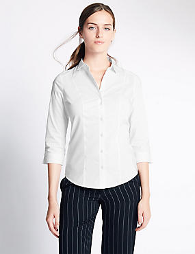 Cotton Blend 3/4 Fuller Bust Sleeve Shirt