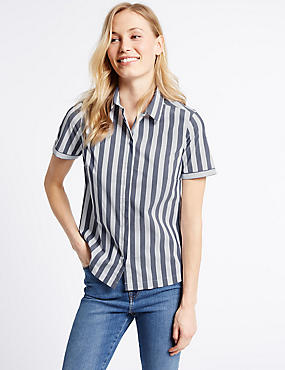 Cotton Rich Striped Short Sleeve Shirt