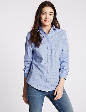 Cotton Rich Star Print No Peep Shirt