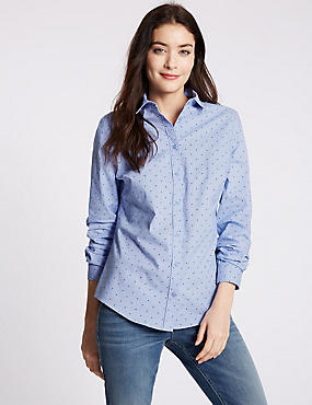 Cotton Rich Star Print Long Sleeve Shirt