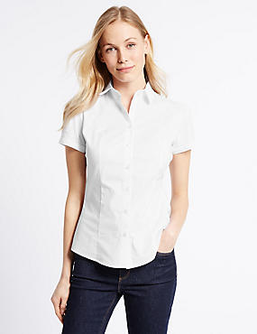 Cotton Rich Short Sleeve Fuller Bust Shirt