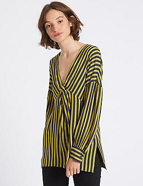 Striped Knot Front V-Neck Blouse
