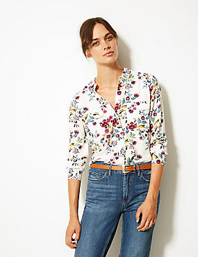 Floral Print Long Sleeve Shirt , IVORY MIX, catlanding