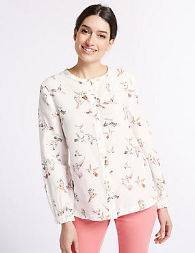 Linen Rich Bird Print Long Sleeve Shirt, IVORY MIX, catlanding