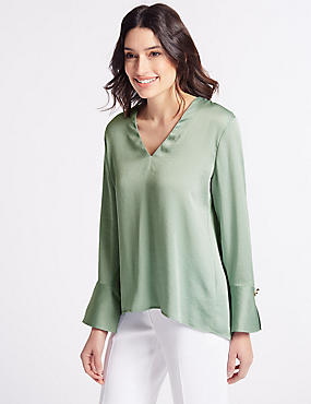 V-Neck Pleat Back Satin Blouse