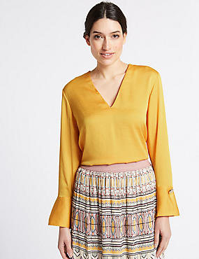 V-Neck Pleat Back Satin Blouse, BRIGHT SAFFRON, catlanding