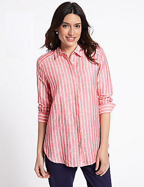 Linen Rich Striped Long Sleeve Shirt