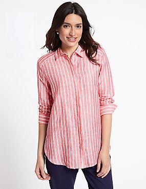 Linen Rich Striped Long Sleeve Shirt , PINK MIX, catlanding