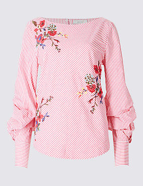 Pure Cotton Embroidered Long Sleeve Blouse