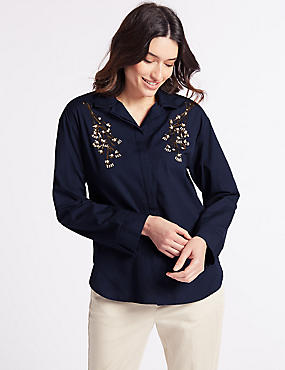 Pure Cotton Embellished Long Sleeve Shirt, NAVY MIX, catlanding