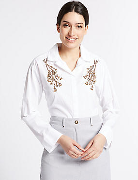 Pure Cotton Embellished Long Sleeve Shirt, WHITE MIX, catlanding