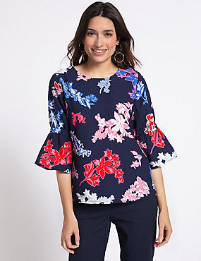 Floral Print ¾ Sleeve Blouse