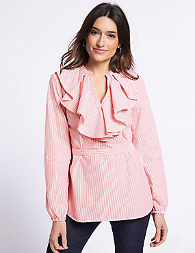 Pure Cotton Striped V-Neck Ruffle Blouse