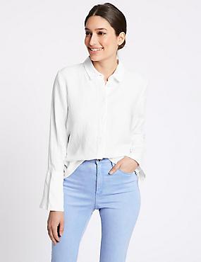 Pure Linen Long Sleeve Shirt  , WHITE, catlanding