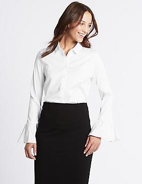 Cotton Rich Frill Cuff Shirt, WHITE, catlanding