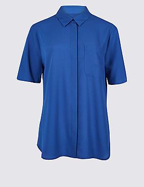 Crepe Half Sleeve Shirt , BLUE, catlanding